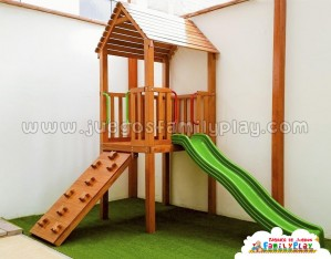 juegos para parques modelo casita madera tobogan